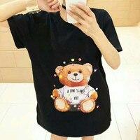 2019 High Quality New black white little bear printed summer top short sleeved cotton T shirt female t shirt women