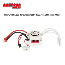 Platinum Waterproof series Brushless 60A ESC for 1/10 1/12 RC Monster Off road Short Course Car Boat 3660 3665 Brushless Motor