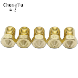 CHANGTA 5pcs/lot 3D printer nozzle V6 V5 j head brass nozzle 0.2 0.3 0.4 0.5 0.8mm For 1.75mm Filament Extruder nozzle