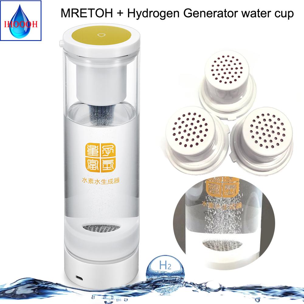IHOOOH MRETOH 7.8Hz And Hydrogen-Rich Generator Electrolysis H2 Water Bottle Ionizer Postpone Aging Detoxify Nourishing The Face