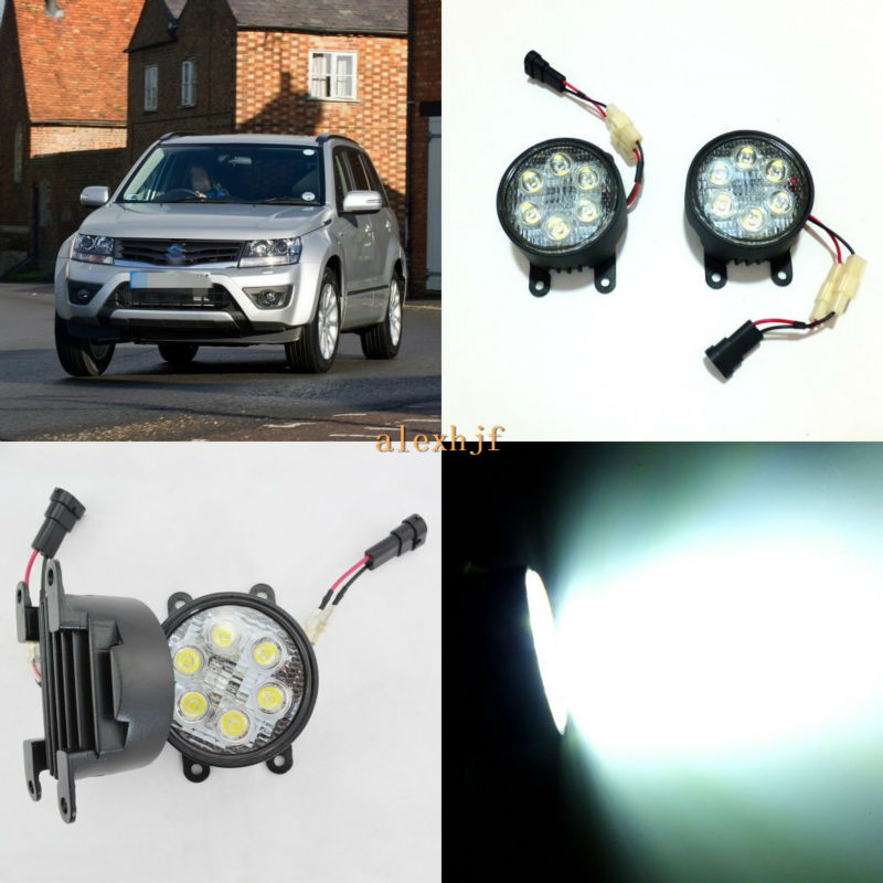 July King 18W 6LEDs H11 LED Fog Lamp Assembly Case for Suzuki Grand Vitara MK II 2005-2015, 6500K 1260LM Daytime Running Lights auto engine power steering pump 49100 65j00 4910065j00 55113201 for suzuki grand vitara ii jt 2 0