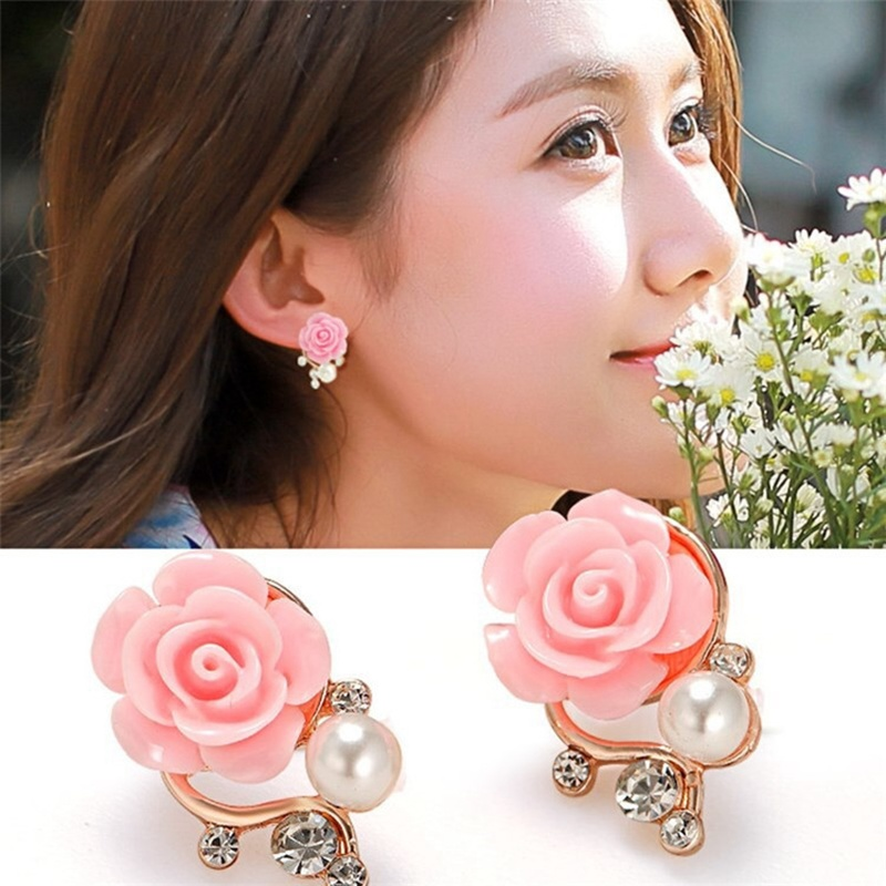 ZILPOIT 2019 NEWEST Trendy 3 Color Pink Rose Flower Pearl Earrings Gold Fashion Exaggerated Earrings For Women 4g