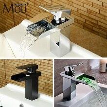 Черный смеситель для раковины для ванной комнаты, масляная бронза, Одноцветный латунный кран для умывальника с квадратным носиком, смеситель для водопада