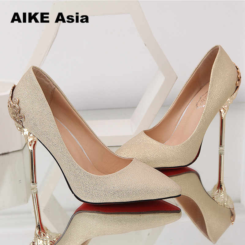 1d4bbd57 ... Sexy High Heels Shoes Woman Pumps Red Gold Silver High Heels Shoes Woman  Ladies Wedding Party ...