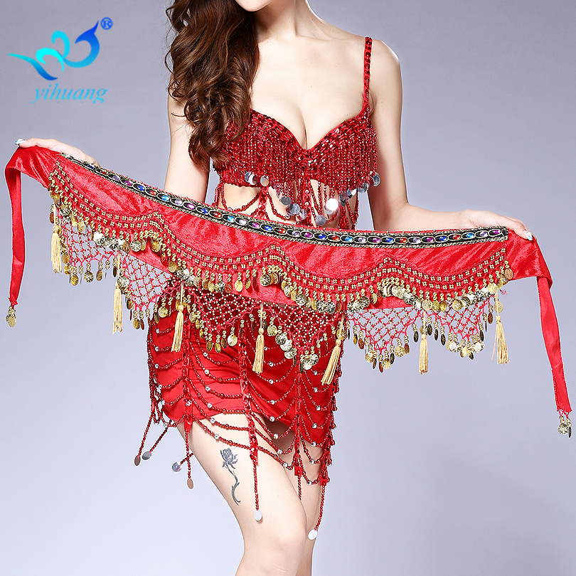 Women Belly Dance Costume Hip Scarf Performance for Oriental Belly Dancing Halloween Party Skirt Indian Bollywood Costume Belt