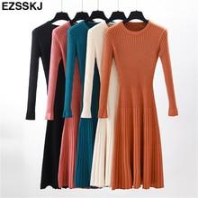 Vestido femenino de punto grueso con manga larga para otoño e invierno, traje básico elegante con cuello redondo para mujer, corte en A, informal