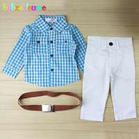 3 Piece 0 7Years Spring Autumn Children Clothing Sets Baby Boys Suit Plaid Shirt White Pants