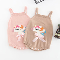 2018 Children Clothing Cute Cartoon Unicorn Baby Costume Girls Romper Soft Knit Jumpsuit Jumper Outfits Autumn Winter