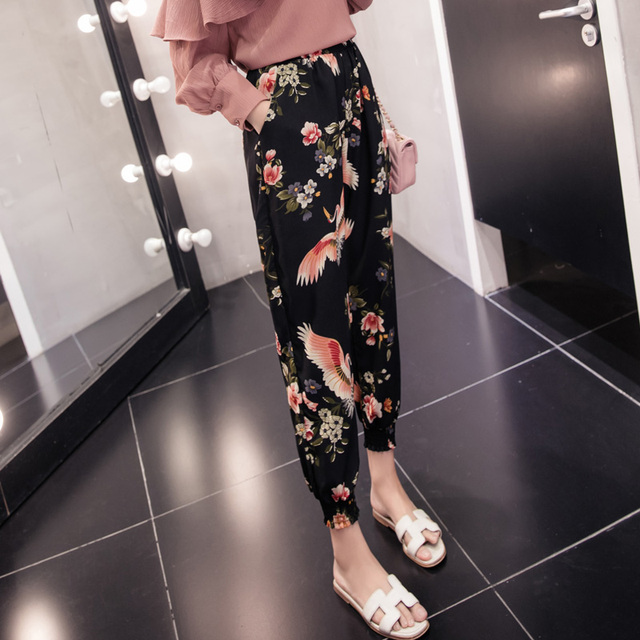 The spring and summer of 2018 Haren leisure pants pants Chiffon lantern loose