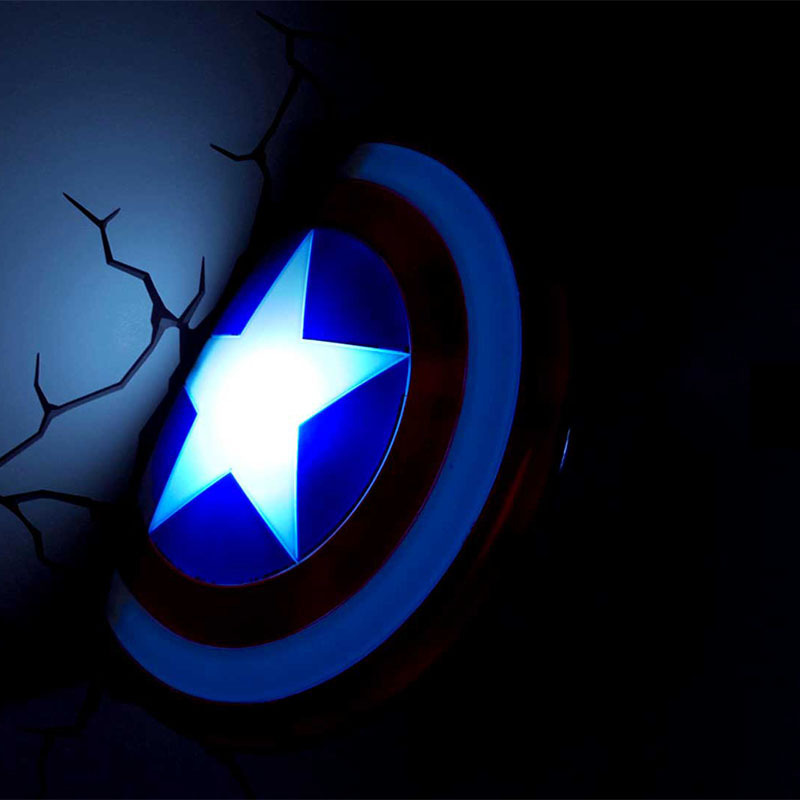 260MM Avengers:Infinity War  Superhero Steven  Rogers Captain America Shield With LED Light 3D Bedroom Decoration Wall Lamp S587 protective outdoor war game military skull half face shield mask black