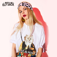 ELF SACK White Cartoon Print Cotton Women T shirts Fashion O Neck Oversize Female Tops 2019 Summer Basis Casual Femme Tee