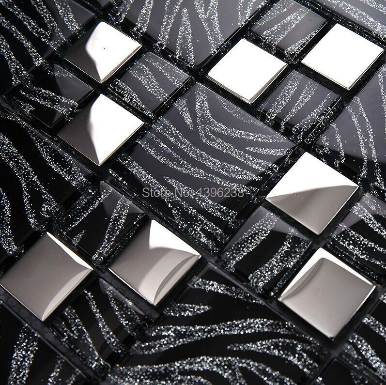 Модные черные стеклянные плитки мозаики, шкаф Кухня щитка Ванная комната стены домохозяйство Art Decor обои, lstc018