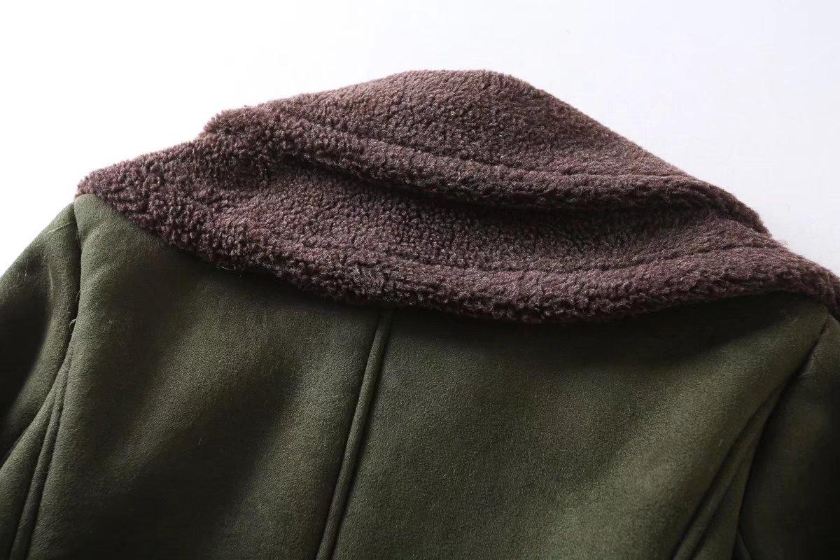 D'agneau Hiver Mode De Veste Ceintures Roulé Manteau Femme Vert Chaud Flocage Feminino Casaco Col Militaire Green Armée Aviator Army Femmes qIxw8BP0Y