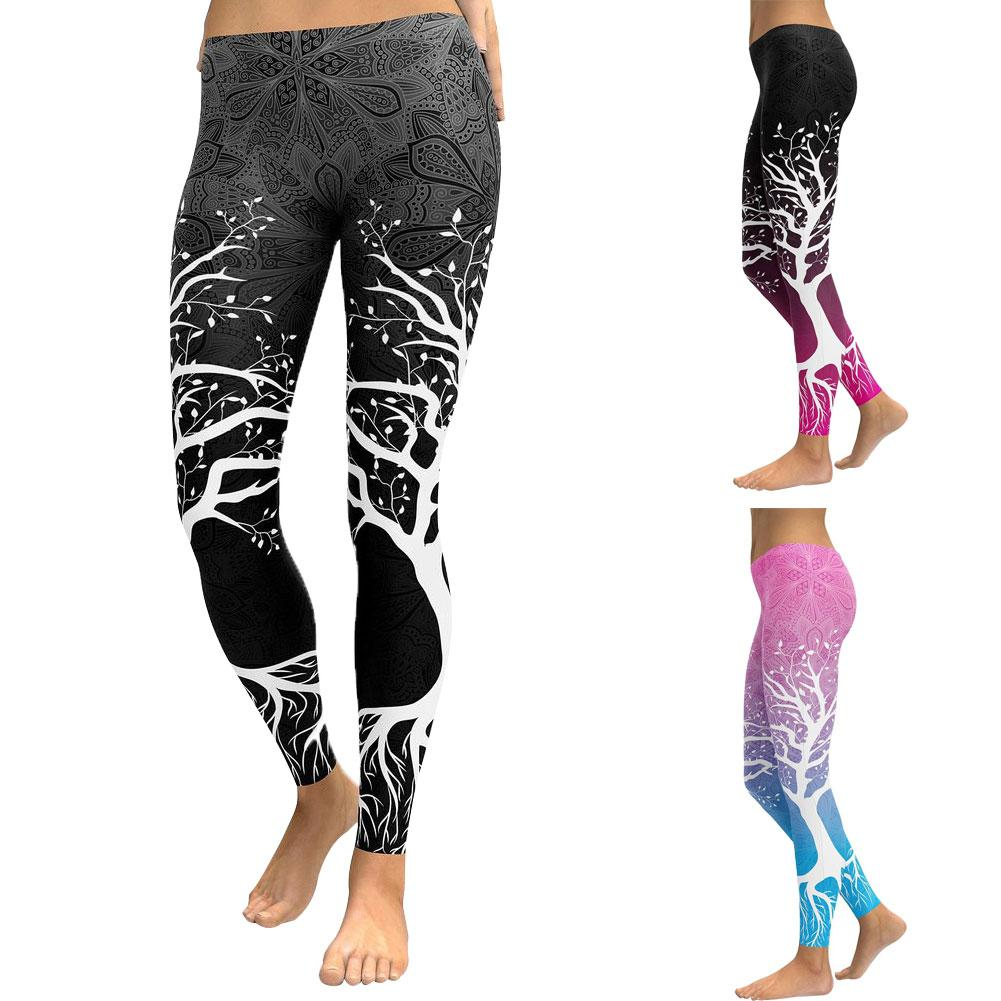 Fitness Leggings Pants Push-Up Workout Sexy High-Waist Sports Women Block Branch-Print