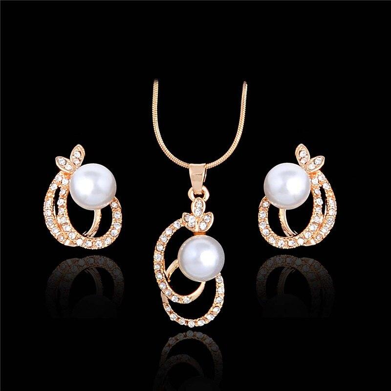 H HYDE Gold color Imitation Pearl font b Jewelry b font Set font b Luxury b