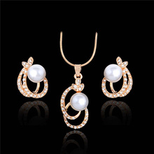 H:HYDE Gold-color Imitation Pearl Jewelry Set Luxury Austrian Crystal Wedding Jewelry Sets Necklaces/ Earrings