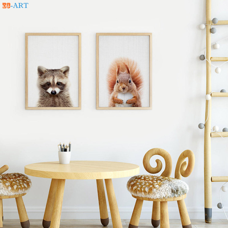 Us 4 32 28 Off Modern Squirrel Dog Prints Animal Woodland Nursery Poster Brown Wall Art Large Canvas Painting Framed Kids Room Home Decor In