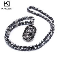 2016 New Arrival 316L Stainless Steel Bead Necklace With Lion Head Pattern Men S Jewelry Of