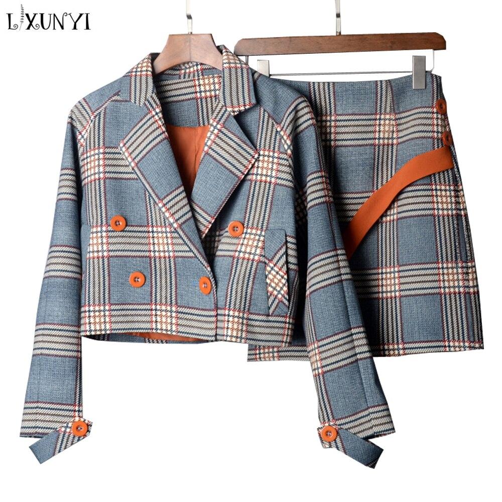 LXUNYI Printemps Automne Deux Pièces Plaid Jupe jeu de costumes Femmes style coréen Femelle Ensemble minijupe Et vestes courtes Double Breasted