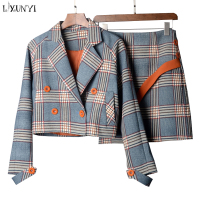 LXUNYI Spring Autumn Two Piece Plaid Skirt Suit Set Women Korean Style Female Set Mini Skirt And Short Jackets Double Breasted