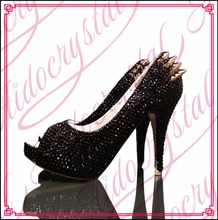 Aidocrystal pure black crystal rhinestones top brand lucury peep toe women high heel shoes free shipping