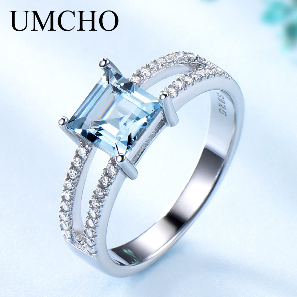UMCHO Sky Blue Topaz Rings For Women 925 Sterling Silver Wedding Band Anniversary Dainty Ring Square Cut Gemstone Fine JewelryRings   -