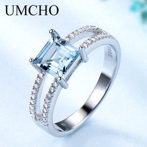 Image 1 - UMCHO Sky Blue Topaz Rings For Women 925 Sterling Silver Wedding Band Anniversary Dainty Ring Square Cut Gemstone Fine Jewelry