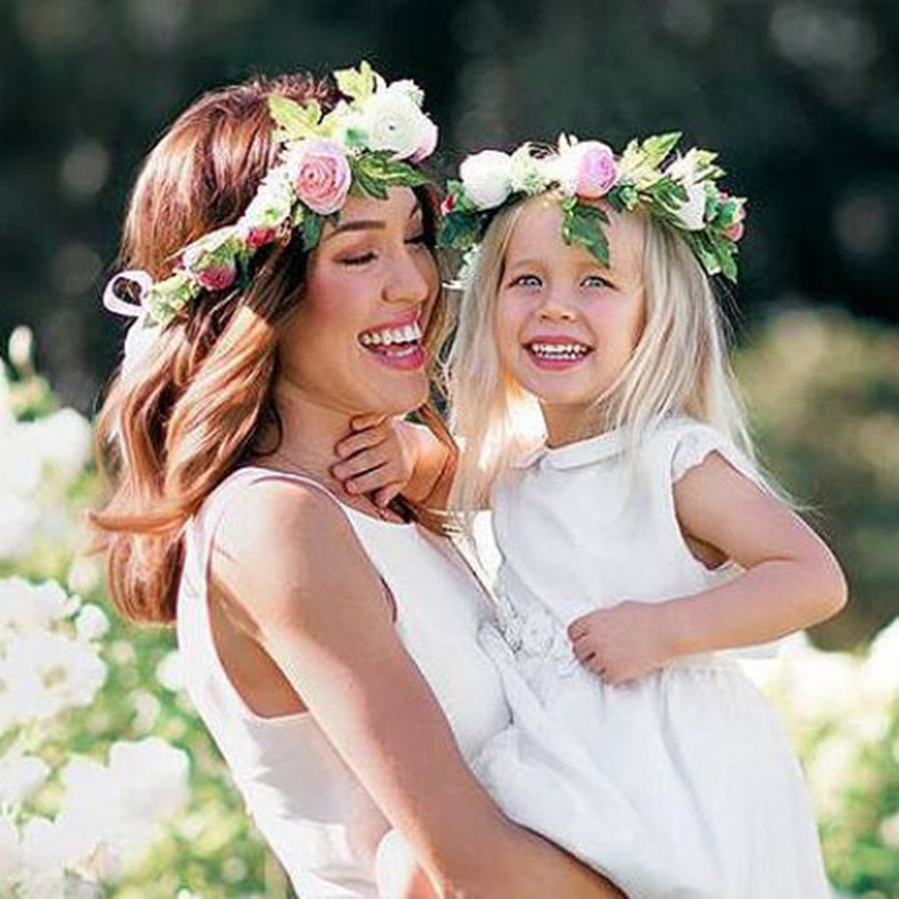 Mom and Kids Baby Girl Rose Flower Wreath Festival Wedding Crown Headband Hair Bands Photography props Hair Accessories 2017 new woman cute berry flower headband fascinator bride flower hair crown wreath girls wedding party beach hair accessories