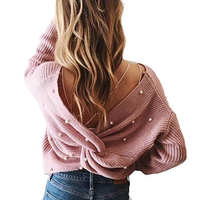AZULINA Pearl Beading V Neck Twist Sweater Sweet Burgundy Women Pullovers Knit Jumper Long Sleeve Casual Sweater pull femme 2019