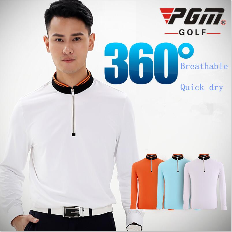 PGM Golf Clothing Mens Golf Polo Shirts New Breathable Elastic Golf Full Uniforms Tshirts Ropa De Golf Men Table Tennis Shirt