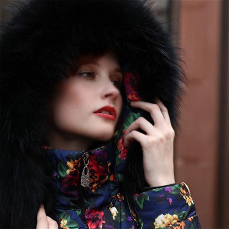 Invierno Las A706 Abajo Gran Mujeres Mapache Picture Chaqueta Pato Mujer As Blanco De Americana The Collar Piel Abrigo Parka Gruesa Impresión Floral Europea Más WnpRqZ08