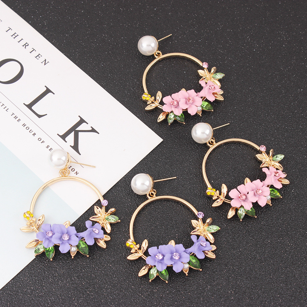 Zerotime #H5 2019 FASHION Color Flower Metal Big Circle Earrings Earrings Temperament Female Wild Серьги Simple Free shipping