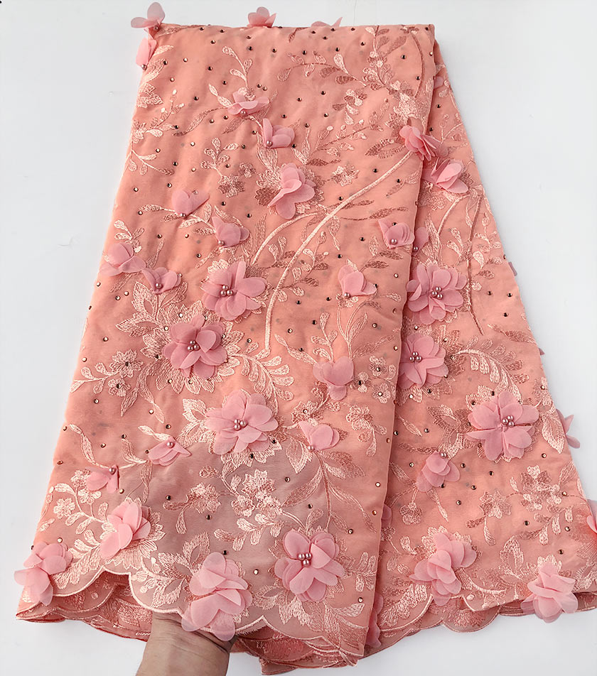 exclusive pure peach Original African Swiss Voile lace fabric Very Soft Chiffon Lace with lots of