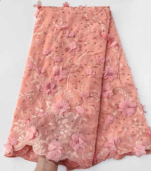 exclusive pure peach Original African Swiss Voile lace fabric Very Soft Chiffon Lace with lots of stones 5 yards high quality - DISCOUNT ITEM  20 OFF Home & Garden