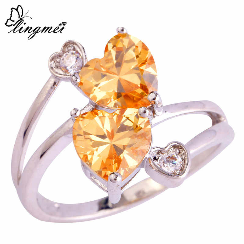 lingmei $0.99 Big Promotion Wholesale Love Style Fashion Women Heart Cut Champagne White CZ Silver Color Ring Size 6 7 8 9 10
