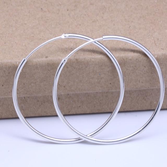 50mm Genuine 925 Sterling Silver Big Hoop Earrings Out Diameter 5cm