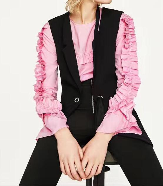 2017 Fashion Design Spring Woman Black WAISTCOAT WITH BOW fastening Cut Out lapel collar Back hem slit
