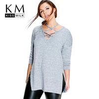 Kissmilk Plus Size New Fashion Women Clothing Casual Solid Halter Tied Tops Long Sleeve Big Size