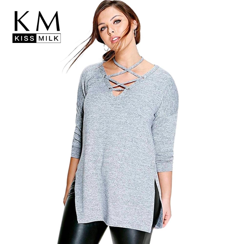 Kissmilk Плюс Размер Новая Мода Женская Одежда Повседневная Твердые Холтер Связанные топы С Длинным Рукавом Большой Размер Блузка Рубашка 3XL 4XL 5XL 6XL