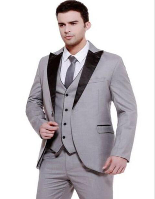 2018 One Button Silver Brown Groom Tuxedos Notch Lapel Best Man ...