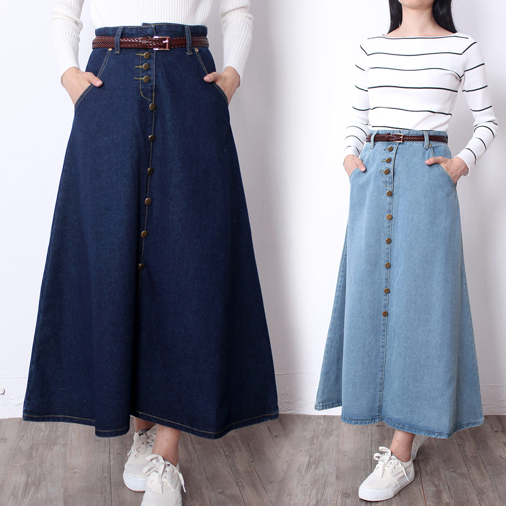 Free Shipping 2019 Fashion Long Mid-calf A-line Skirts Women Spring And Autumn Cotton Skirts Single-breasted S-2XL Jeans Skirt