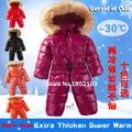 Invierno ruso abajo una sola pieza recién nacido ropa del bebé nieve de la navidad desgaste kids Ski Jacket cuello de piel de mapache