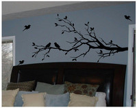 Free Shipping Large Size 58 X28 Vinyl Tree Branch With 10 Birds Wall Decal Removable Wall