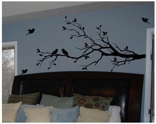 Livraison Gratuite Grande taille 147 cm x 71 cm Vinyle Branche D'arbre avec 10 oiseaux Sticker Amovible Wall Sticker Home Decor Art Mural, T3003