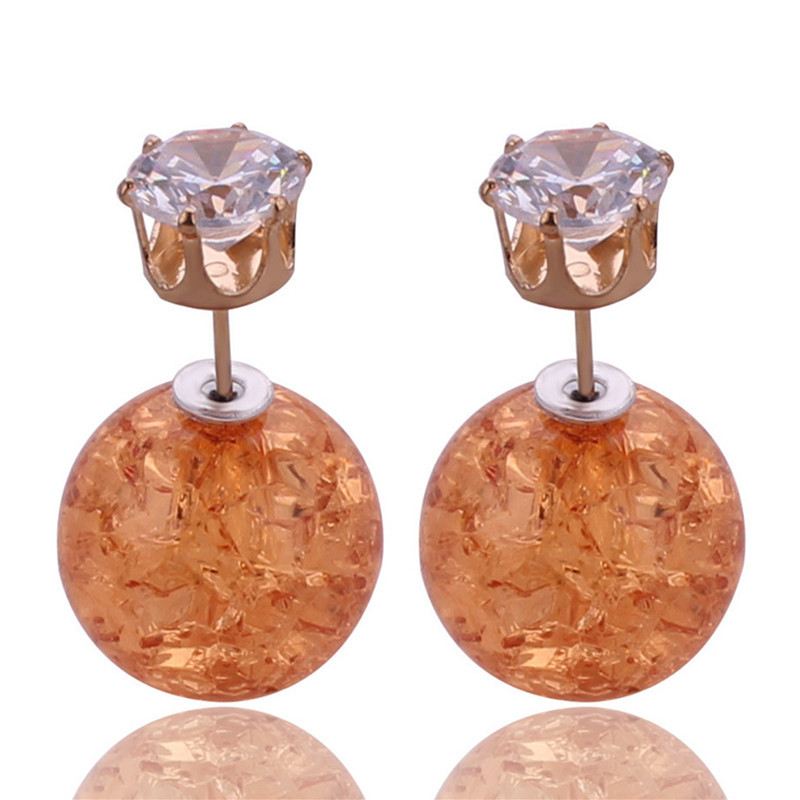9 Colors New Unique Design Crack Double Sides Pearl Stud Earrings Shining Crystal Crown Big Ball