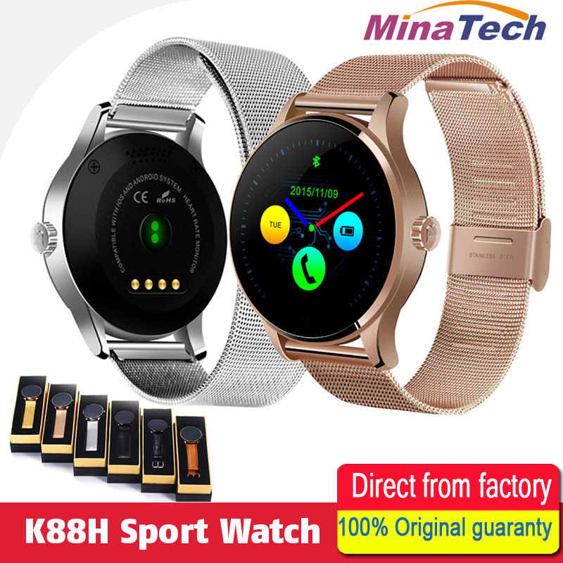 K88H Smart Watch 1.22 Inch IPS Round Screen Support Sport Heart Rate Monitor Bluetooth SmartWatch For IOS Android все цены