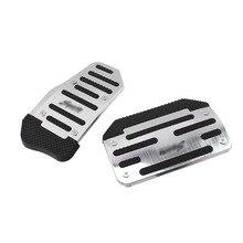 2 Pieces Set Universal Aluminum Alloy Automatic Car Foot Pedal Brake Throttle Kit Anti-slip