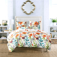 Polyester/Cotton Bed Linen China Satin Bed Cover Queen Size Flowers Double Bedding Set King Bed Sheet