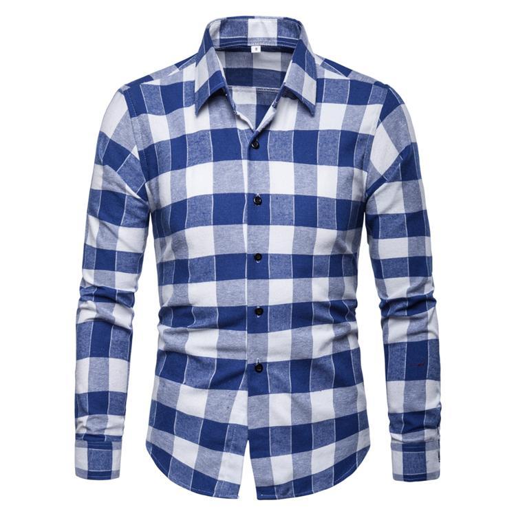 Casual Men Shirts Men's Clothing Fashion Plaid Shirt Men's Blouse Long Sleeve Black Red Blue New