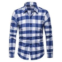 Casual Men Shirts Mens Clothing Fashion Plaid Shirt Blouse Long sleeve Black Red Blue New